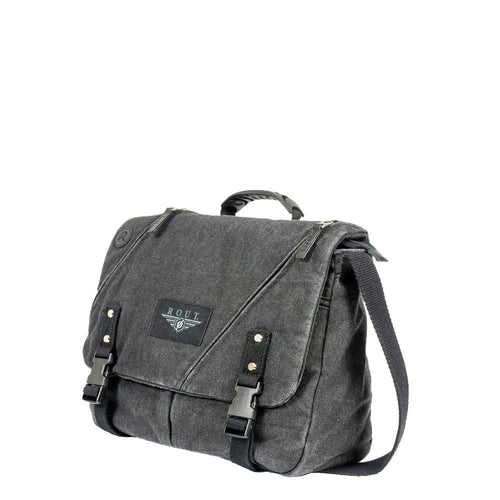 Black messenger bag with leather trim
