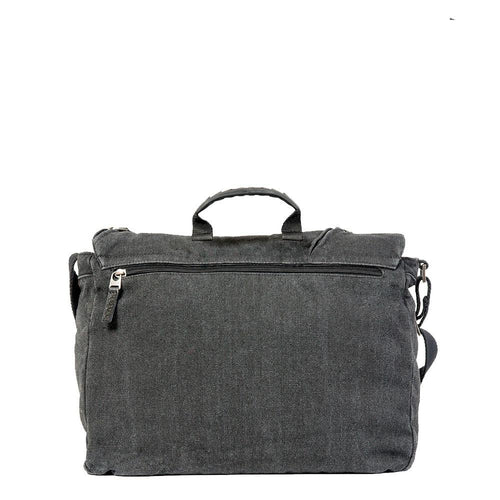 Cotton messenger bag with back pocket