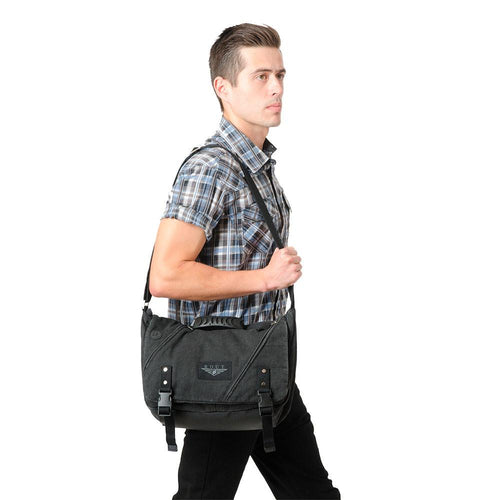 Guy wearing messenger bag