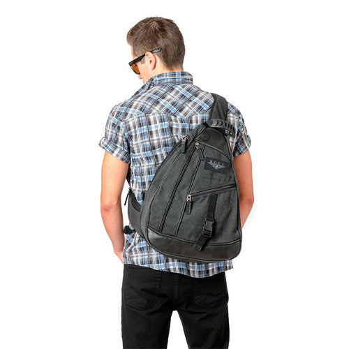 Guy wearing black backpack