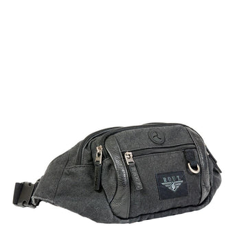 Black waist pack with leather trim
