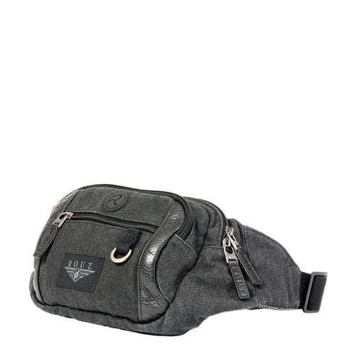 Multi pocket waist pack with leather trim