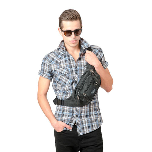 Guy with crossbody pack around chest