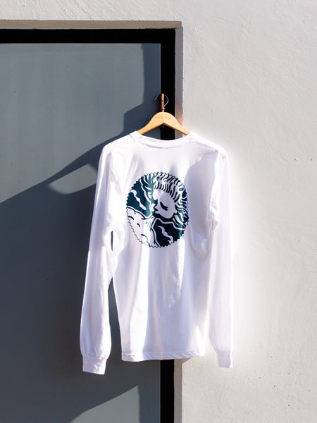 White Long Sleeve T (wind God logo on back)