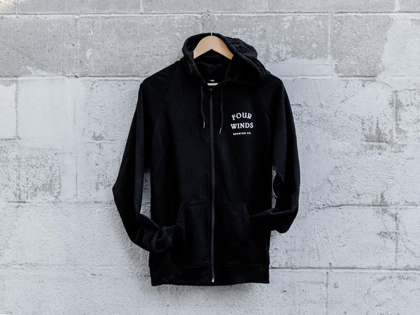 Black Zip up Hoodie (Font on front Logo on Back)