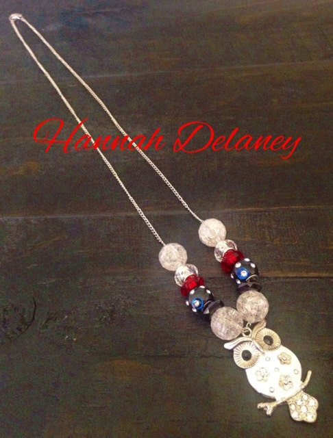 Beautiful, Graceful Red And Blue Beads With Owl Pendant