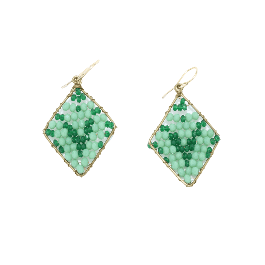 Green Delica Beaded Earrings
