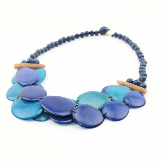 Blue Bib Necklace Oval Shaped Vegetable Ivory Petals Natural Jewelry