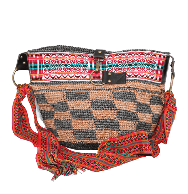 Brown Square Shaped Ethnic Bag Handwoven Bag