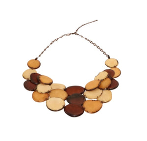 Brown Statement Bib Necklace Oval Shaped Vegetable Ivory Petals Natural Jewelry