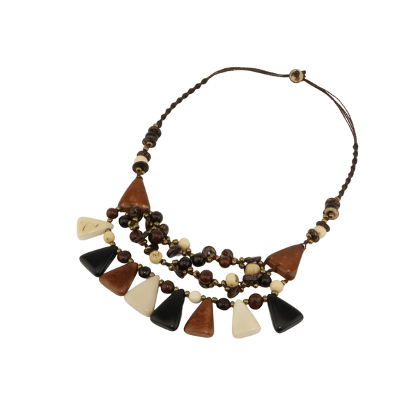 Black and White Triangulate Boho Necklace for Women