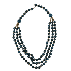Dark Blue Acai Seed Beaded Necklace Natural Jewelry