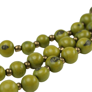 Lime Green Acai Seed Beaded Necklace Natural Jewelry