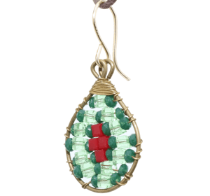 Green and Red Delica Beaded Earrings