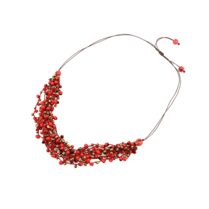 Red Guairuro Boho Bead Necklace