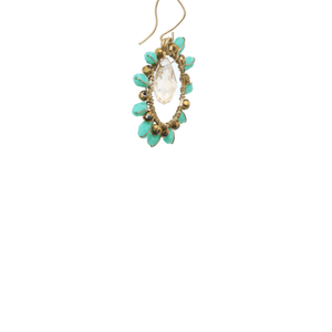 Green and Gold Delica Beaded Earrings