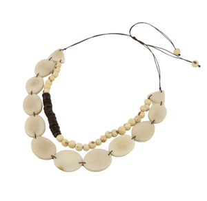 White Boho Necklace Oval Vegetable Ivory Shape