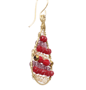 Red and Gold Delica Beaded Earrings