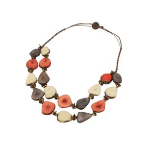 Brown Boho Necklace Oval Vegetable Ivory Shape