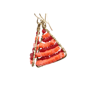 Red and Orange Delica Beaded Earrings