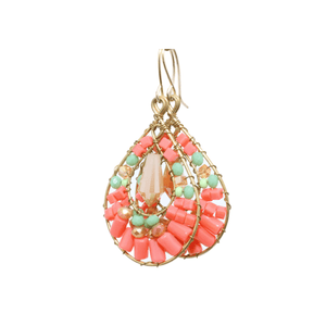 Pink and Green Delica Beaded Earrings