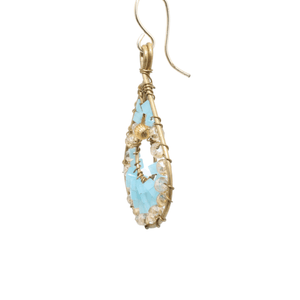Gold and Blue Delica Beaded Earrings