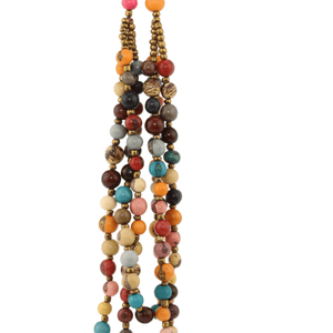 Multi Colored Strands Acai Seed Beaded Necklace Natural Jewelry
