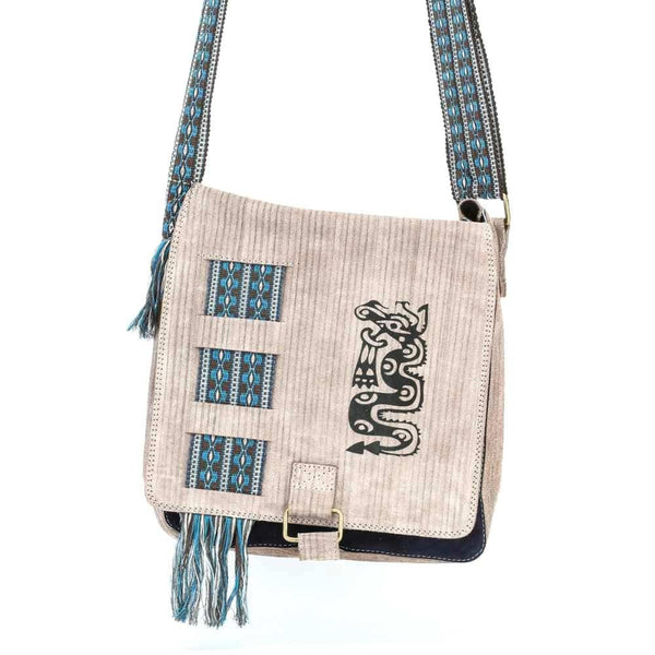 Beige Suede Leather Bag w/ Hand-woven Strap
