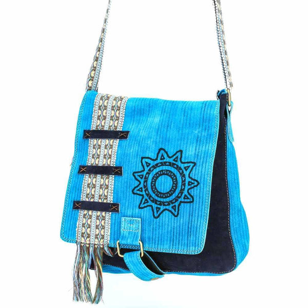 Light Blue Suede Leather Bag w/ Hand-woven Strap