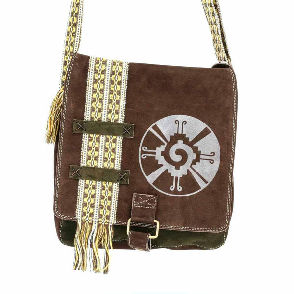 Brown Suede Leather Bag w/ Hand-woven Strap