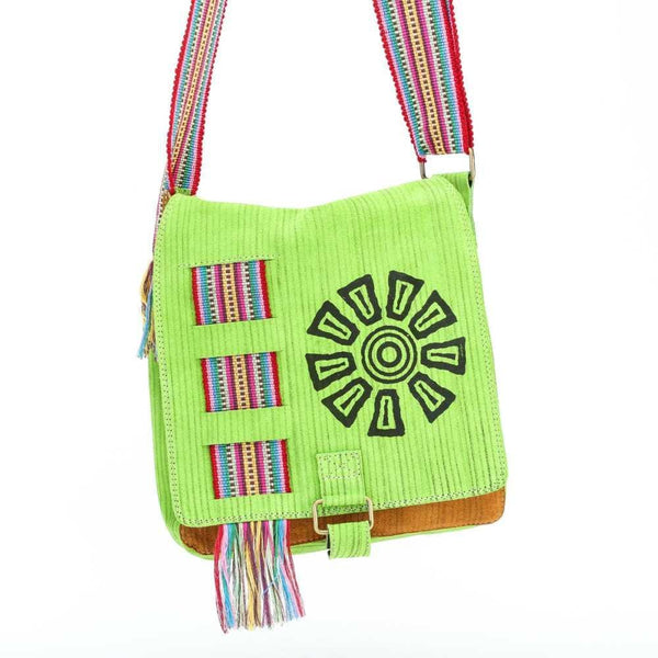 Light Green Suede Leather Bag w/ Hand-woven Strap