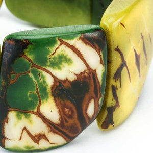Green Statement Bracelet - Tagua Nut Eco-friendly Jewelry