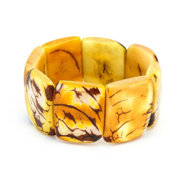 Yellow Statement Bracelet - Tagua Nut Eco-friendly Jewelry