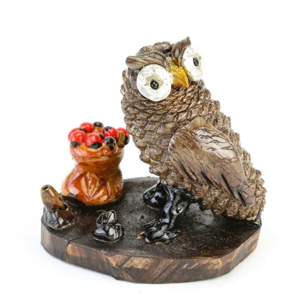 Miniature Owl Sculpture with Lucky Beans