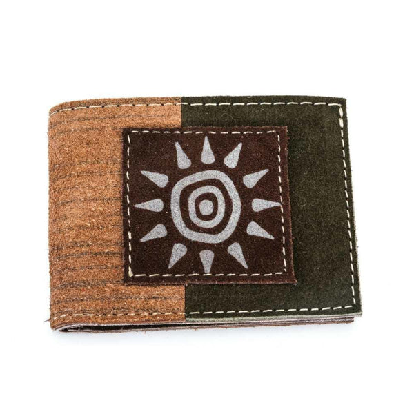 Men's Suede Leather Wallet - Beige Exterior