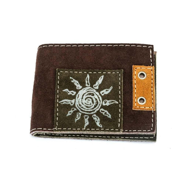 Men's Suede Leather Wallet - Brown Exterior