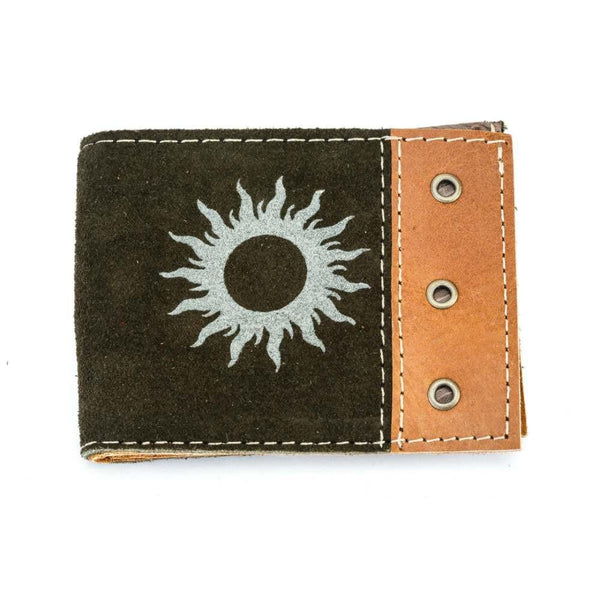 Men's Suede Wallet - Green Exterior