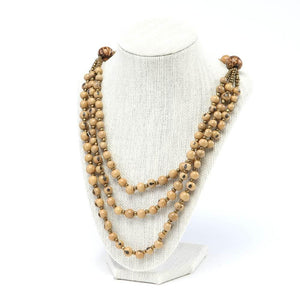 Beige Acai Seed Beaded Necklace Natural Jewelry