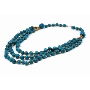 Blue Acai Seed Beaded Necklace Natural Jewelry