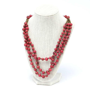Red Acai Seed Beaded Necklace Natural Jewelry