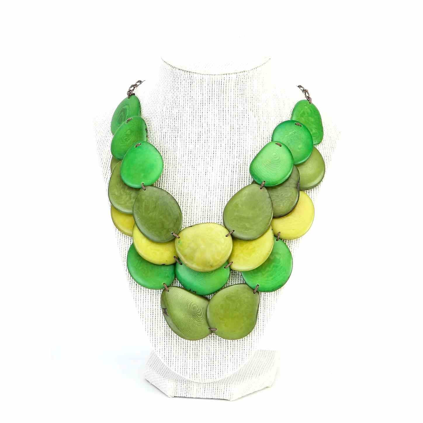 blue necklace white statement beaded necklaces set tagua bib