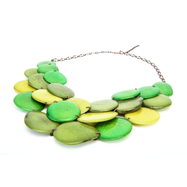 Green Statement Bib Necklace Oval Shaped Vegetable Ivory Petals Natural Jewelry
