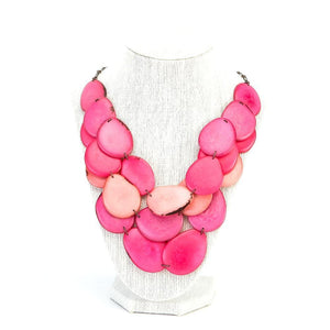 Pink Statement Bib Necklace Oval Shaped Vegetable Ivory Petals Natural Jewelry