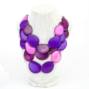 Purple Statement Bib Necklace Oval Shaped Vegetable Ivory Petals Natural Jewelry
