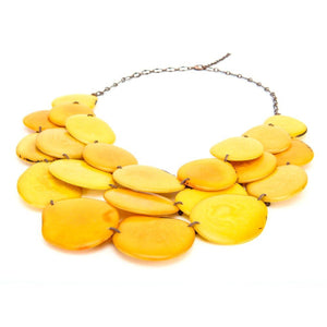 Yellow Statement Bib Necklace Oval Shaped Vegetable Ivory Petals Natural Jewelry