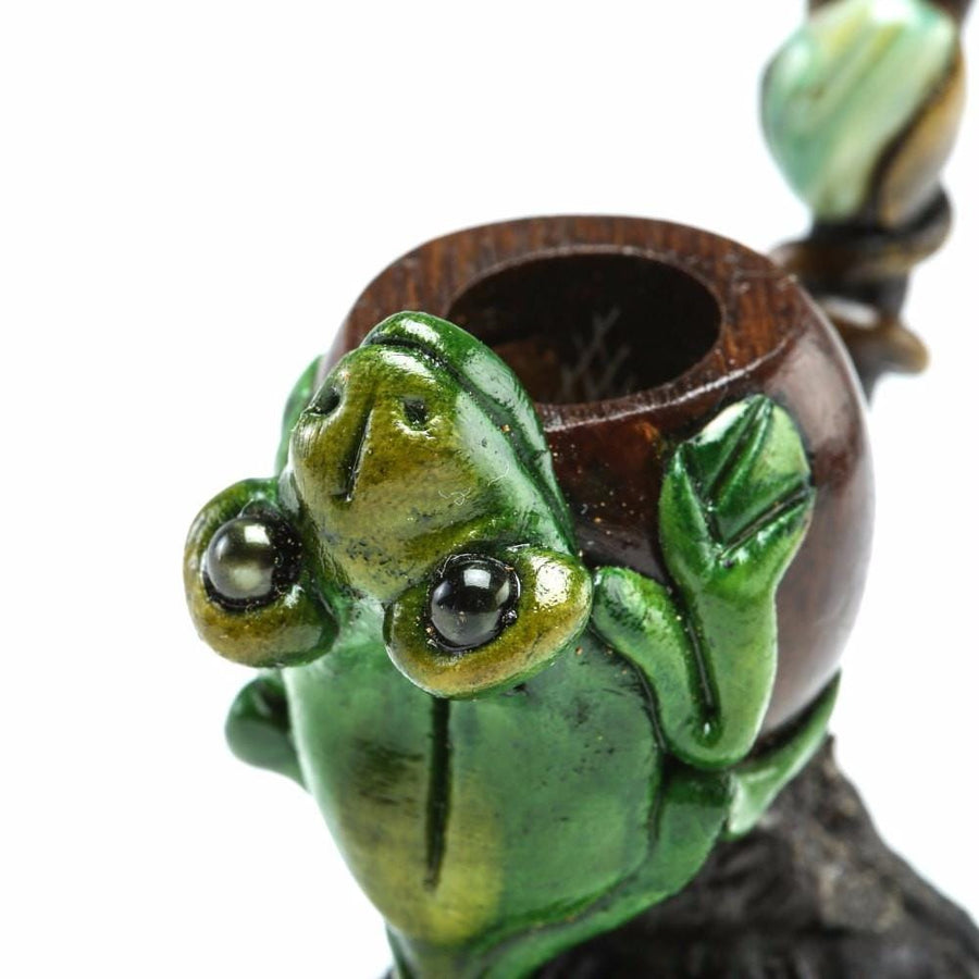 Andean Walnut Base - Frog Smoking Pipe