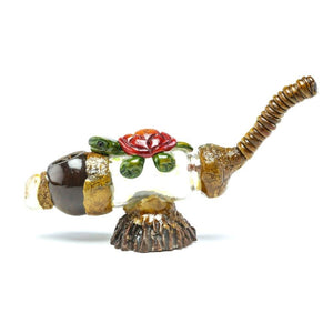 Andean Walnut Base - Turtle Smoking Pipe with Glass