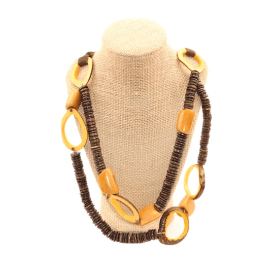 Brown Statement Necklace Oval Shaped Vegetable ivory