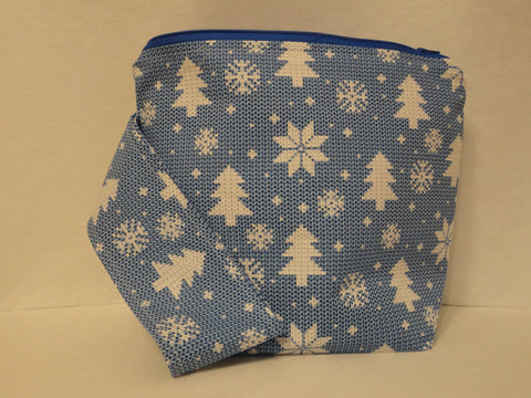 Knitted Trees and Snowflakes on Blue