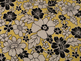 White and Black Flowers in Yellow Background
